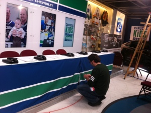 Setting up for the Canucks Telethon
